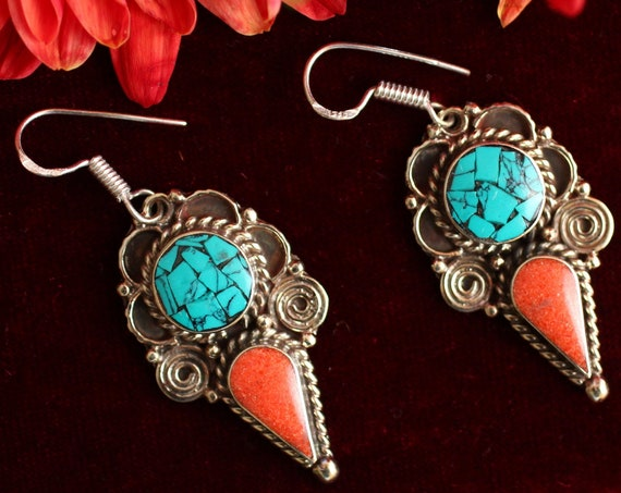 VINTAGE TURQUOISE EARRINGS - Nepalese / Neplai earrings - Bespoke - Unique - Coral Chip Jewellery - Kuchi Style - Tibetan - Afghan - Indian