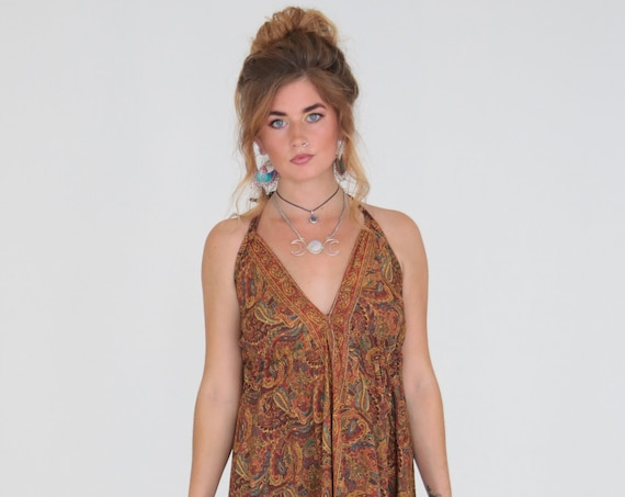 PAISLEY MAXI DRESS - Summer dress - Vintage Style - Sari dress - Indian Dress - Up cycle - Eco Fashion - Beach - Hippie - Wedding - Festival