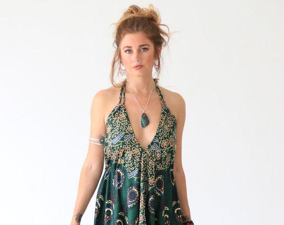 MANDALA SUMMER DRESS - Cotton Hippie Dress - Vintage Re-worked Dress - Mandala Fabric - Beach Wedding - Holiday Vacation - Halter neck Dress