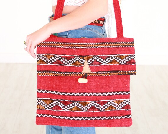 VINTAGE SIDE BAG - Vintage Purse - Moroccan Kilim Rug - Book bag - Up-cycled satchel - Recycled Carpet Shoulder bag - School Bag - Handmade