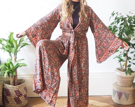 JUMPSUIT Co ORD SET - 2 Piece set - Silk Bell sleeve & Trousers - Jumpsuit Style - Flares - Wide leg - Lounge wear - pant set - Vintage 70's