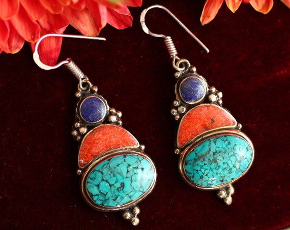 VINTAGE TIBETAN EARRINGS - Handmade Nepali earrings - Bespoke - Mosaic - One of a Kind - Statement - Festival - Indian - Coral - Turquoise