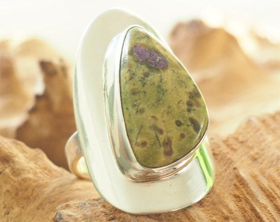 RARE ATLANTISITE RING - Tasmanite  Crystal - Serephanite - Incredible Adjustable Ring - Chunky Solid Silver - Cosmic Healing Crystal Gift