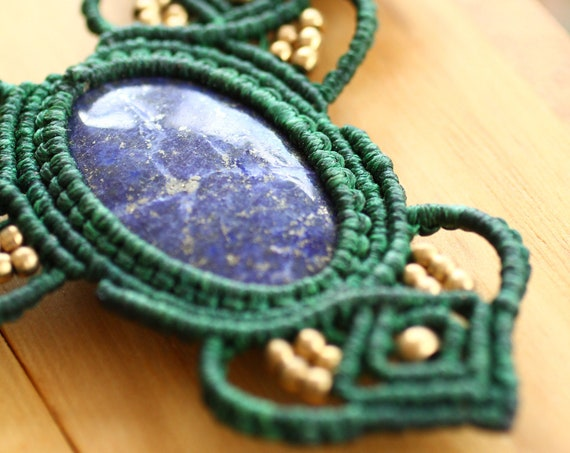 LAPIZ LAZULI NECKLACE - Xl Micro Macrame - Choker - Rare Amulet - Autumn Inspired Leaf Jewelry - Adjustable Jewellery - Gemstone - Crystal
