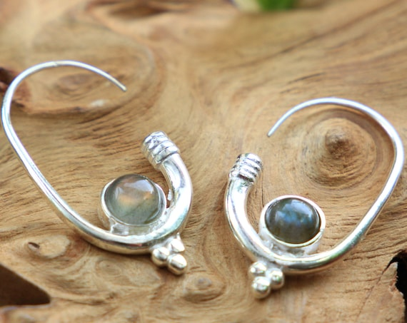 LABRADORITE HOOK EARRING - Silver Plated Earrings - Healing Crystal Jewellery - Boho - Vintage - Festival - Gift - Gemstone Earrings - Moon