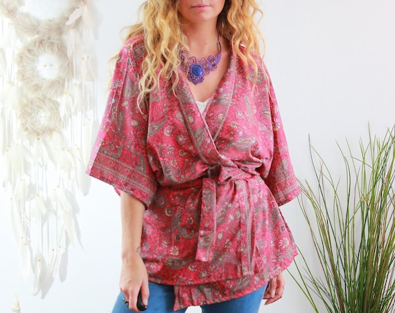 PINK POWER KIMONO - Bohemian Silk Top - Slow Fashion - Autumn Wrap - Dressing gown - Lounge wear - Indian jacket - Paisley - Recycled Silk