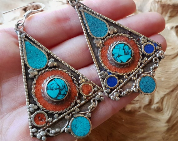 AMAZING TIBETAN EARRINGS - Extra Large Nepali earrings - Bespoke - Mosaic - Gypsy - One of a Kind - Statement - Coral chip - Turquoise stone