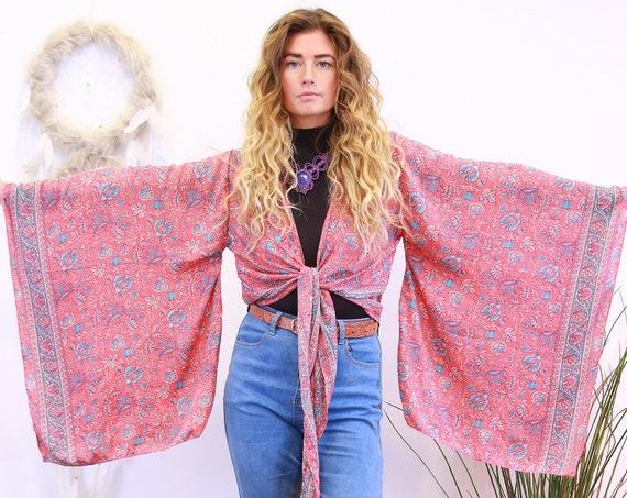 BELLA XL SLEEVE - Batwing Japanese Kimono - Indian Silk - Hippie Kaftan - 70's Boho Wrap Around Top - Gypsy - Floaty Crop Jacket - Cardigan