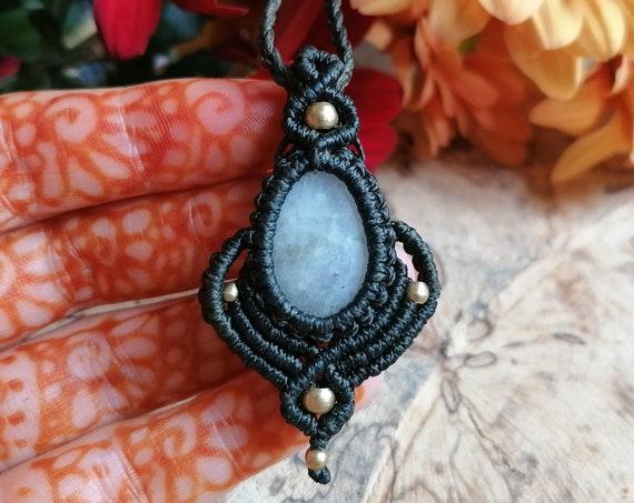 MOONSTONE AMULET NECKLACE - Unisex - Micro Macrame Adjustable necklace - One off Handmade Gift - Yoga / Spiritual gift - Xmas Crystal Magic