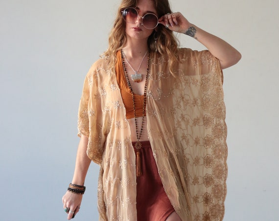 GOLD KISS KIMONO - Bohemian Wedding - Vintage 70's - Summer - Holiday Cape - 60's - Beach Cover up - Batwing Silk Dress - Gypsy - Tribal