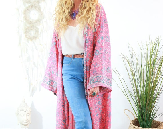 FULL LENGTH KAFTAN - Long Dress Jacket - Cover Up - Kaftan - Vintage - Dressing Gown - Wrap Around Dress - House Coat - 60's Gunne Sax Style
