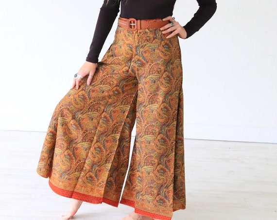 PAISLEY MAXI FLARES - Limited Edition Silk Flares - Vintage Sari - Festival - Hippie Skirt - Wide leg Trousers - Bell bottoms - 70's toruser