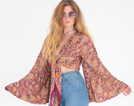 VIOLET PAISLEY TOP - Bell sleeve crop top - Silk Tie Top - Vintage Festival Top - Hippie - Retro - 70s - Recycled Silk - Couture Blouse