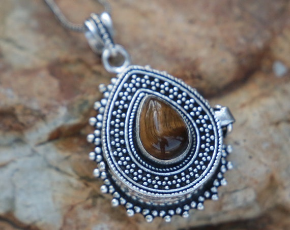 TIGERS EYE LOCKET - Pill box - Silver plated - Mantra Box - Crystal - Gemstone - Stash box Necklace - Festival - Perfume - Sale - Keepsake