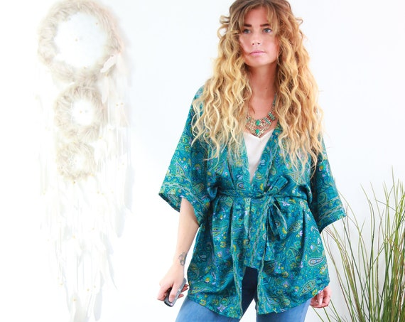 TURQUOISE DREAM KIMONO - Silk Jacket - Bohemian Kaftan - Recycled - Wedding - Summer Crop - Autumn Shawl - Wrap Top - Dressing Gown - Home