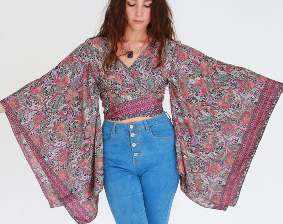 BELLA WRAP TOP - Ruby Sparrow Batwing kimono - Vintage Japanese Style - Indian Silk - 60's 70's Boho - Gypsy Summer Tie Top - Stevie Nicks