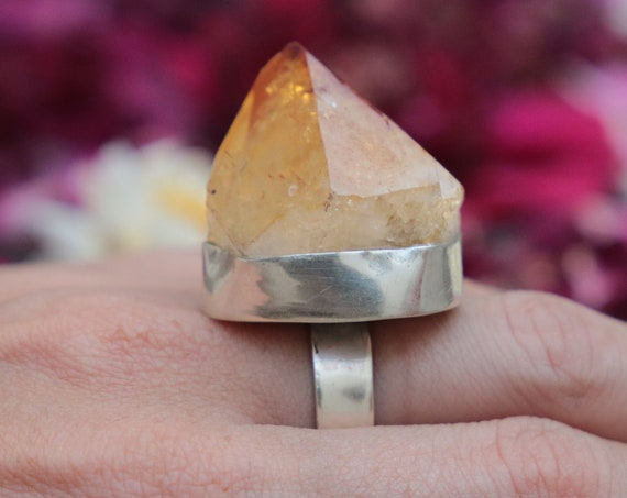 MEGA CITRINE RING - Adjustable Sterling silver Ring - Rare Crystal ring  - Semi precious - Birthstone - Success Stone - Manifest - Statement