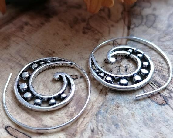 RETRO SWIRL EARRINGS - Silver Plate Earrings - Tribal - Twist - Sacred Geometry - Ethnic Jewellery - 70's hippie - Bohemian Stocking filler