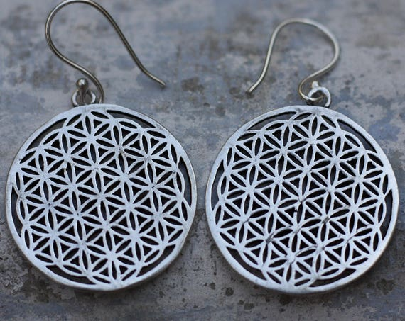 MANDALA EARRINGS - Sacred Geometry - Spiritual Jewelry - Gift set - Sale - Flower of life - Metatrons cube - Yoga - Hippie - Christmas