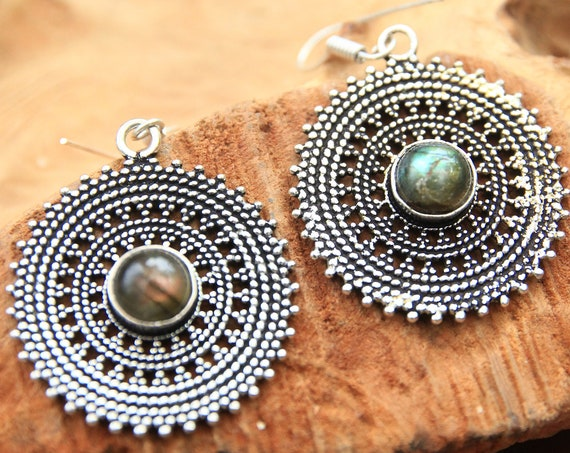 RUSTIC LABRADORITE EARRINGS - Silver Plated Earrings - Bohemian Jewelry - Oxidised - Antique feel - Stocking Filler - Jewellery Gift set