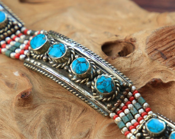 NEPALESE TURQUOISE BANGLE - Vintage Nepali Bracelet  - Statement cuff - Tribal Gypsy Jewellery - Rare Antique Bracelet - Unique bespoke gift