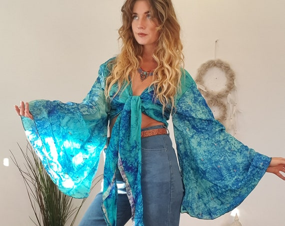 TIEDYE SILK TOP - Indian - Tie dye Bell Sleeve - Retro Hippie Top - 70s - 60'S - Slow Fashion - Stevie Nicks - Boho Style Wrap Around Dress