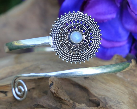 MOONSTONE ARM BAND - Festival Arm Cuff - Tribal - Upper Arm Cuff - Wedding - Bohemian - Gemstone Summer Jewelry - Healing crystal - Party