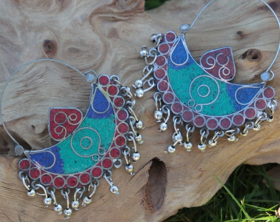 VINTAGE AFGHANI EARRINGS - Turquoise and Coral - Handmade - Bespoke - Tribal - Mosaic - Gypsy - One of a Kind - Statement - Festival - India