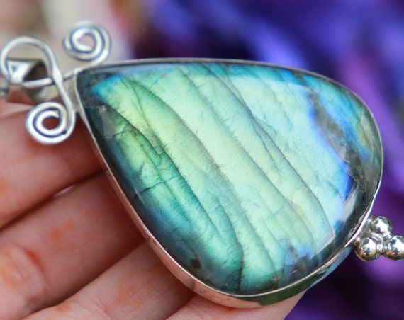 LABRADORITE SWIRL NECKLACE - Statement Crystal Necklace - Solid Silver - Iridescent - Glowing - Bespoke - One of a kind - Reiki - Magic