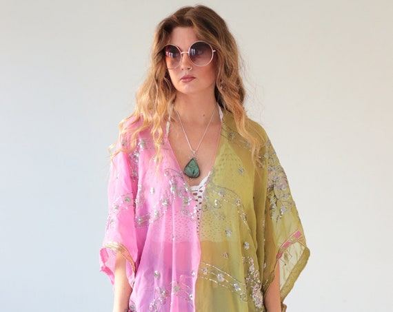 TWO TONE KIMONO - 70's - 60's - Vintage Dress - Summer Festival Jacket - Boho - Silk Sequin - Vacation - Retro - Bespoke - Beach Kaftan -