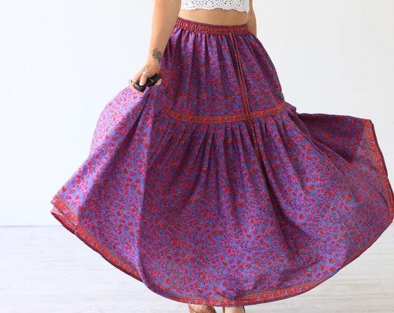 PASTEL PEASANT SKIRT - Vintage Style Gypsy skirt - 60's 70's Maxi - Summer Festival - Bohemian Skirt - Folk - Woodstock - Indian Gauze Style