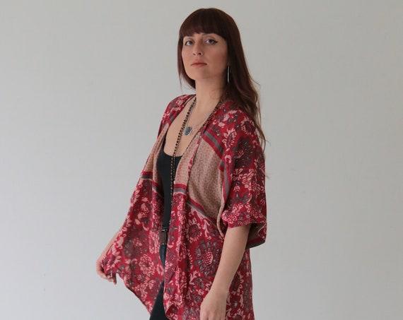 INDIAN FLOWER KIMONO - Silk - Cover Up - Bohemian - Kaftan - Asymmetric - Bespoke - Vintage silk - Eco Fashion - Up cycle - Free size - Gift