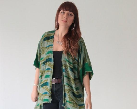 PAISLEY WAVE KIMONO - All Season Kaftan - Vintage Fabric - Asymmetric - Bespoke - Indian - Floral Top - 60's - 70's - Retro - Waterfall