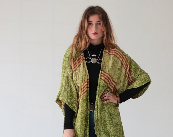 INDIAN STEVIE KIMONO - Silk Cardigan - Cover Up - Bohemian Kimono - Christmas - Party Outfit - Kaftan - Waterfall - Bespoke - 100% silk