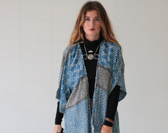 ICE BLUE KIMONO - Silk Cover Up - Bohemian Kimono - Beach  Kaftan - Waterfall - Bespoke - 100% silk - Eco Fashion - Up cycle - Indian print
