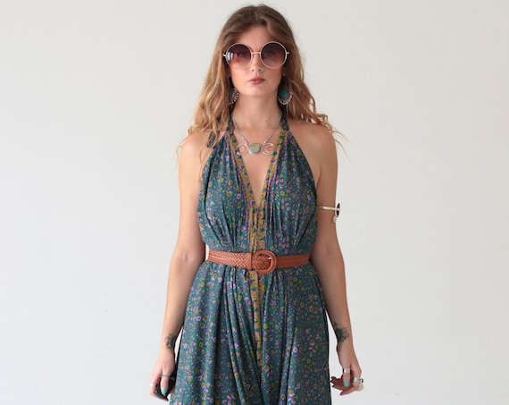 INDIAN LUXE JUMPSUIT - Vintage Silk - Wedding - Festival - Backless - Boho - Summer Dress - Casual - Wide leg - Bespoke - Travel - Playsuit