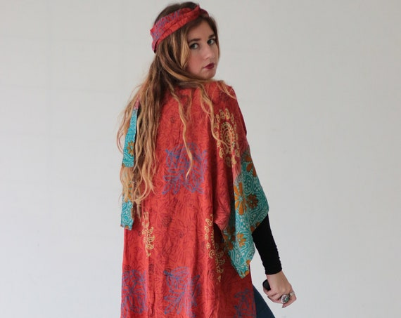 HIPPIE FESTIVAL KIMONO - Maxi Jacket - All season Cover Up - Kaftan - Vintage - Gunne Sax Inspired - Folk - 70's 60's - Recycled Silk - Boho