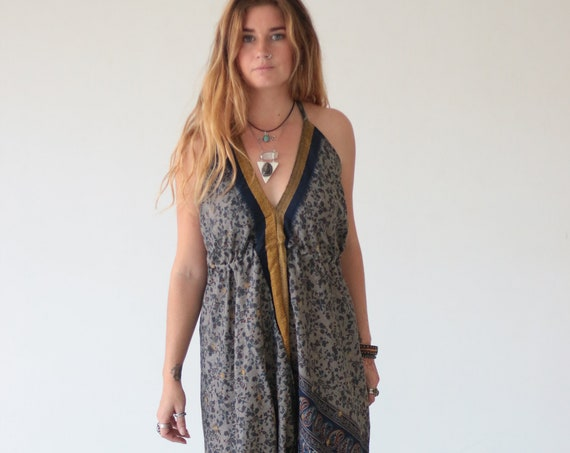 INDIAN PAISLEY JUMPSUIT - Fall - Autumn - Winter Wedding - Handmade - Vintage - Hippie - Halterneck - Couture - Upcycled - Bohemian - Gift