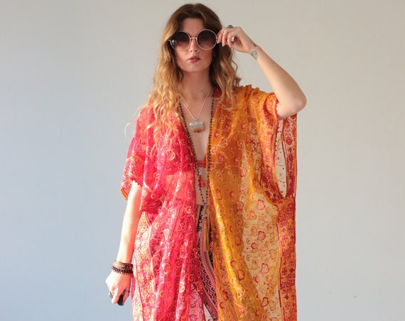 BOHEMIAN SUNRISE KIMONO - One of a kind Silk Kaftan - Batwing Jacket - Beach - Summer Cover up - Vintage Sari Silk - Up cycle - Festival