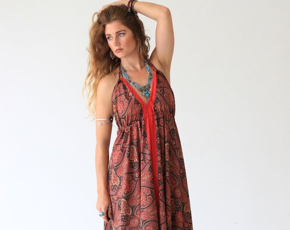 BACKLESS PAISLEY DRESS - Vacation - Vintage Summer dress - Indian - Up cycle - Beach - Hippie - Maxi dress - Holiday - Gift - Evening dress