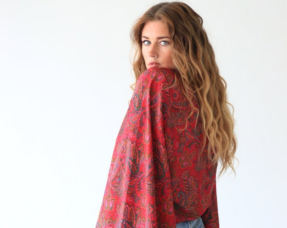 PAISLEY BELL SLEEVE - Crop Tie top - Kimono - Vintage Cape - Festival Top - Hippie - 70s - 60'S - Recycled - Free size - Summer - Boho