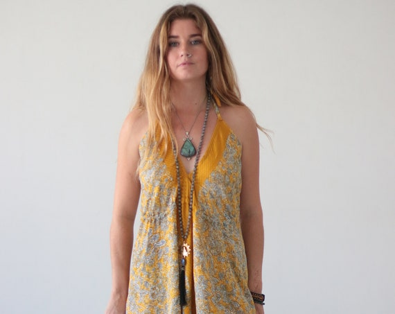 SOUL SHINE JUMPSUIT - Indian Silk - Block print - Handmade - Vintage Sari - Autumn - Hippie - Halter neck - Couture - Recycled - All in one