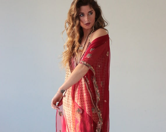 RUBY SPARROW KIMONO - Vintage Silk Sari Kaftan - Beach - Cover Up - Wedding - Dupatta - Maxi Dress - Festival Fashion - Cape - Shawl -Summer