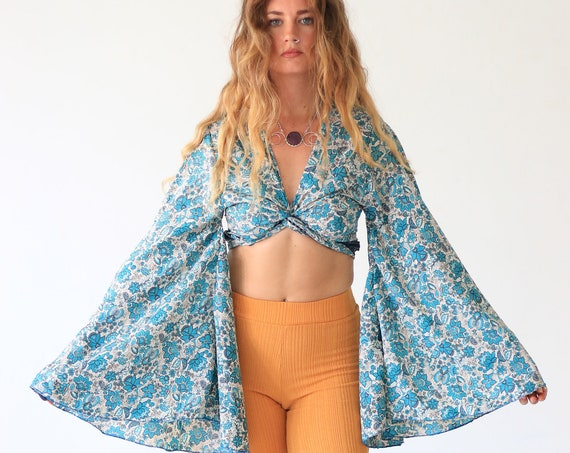 FLORAL BELL SLEEVE - Crop Tie top - Kimono - Vintage Silk - Bohemian - Retro - 70s - 60'S - Recycled - Free size Indian top - Paisley top