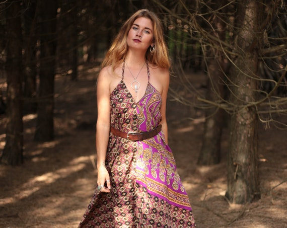 SILKY SUMMER DRESS - Summer Vacation - Vintage dress - Indian - Upcycle - Eco Fashion - Beach - Hippie - Sale - Maxi dress- Holiday - Gift