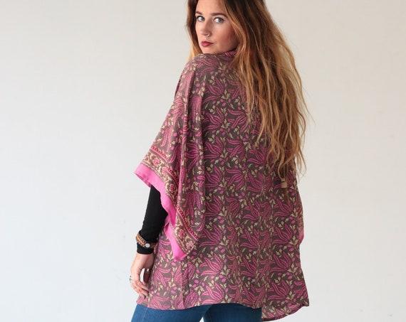 FLORAL PINK KIMONO - Maxi - Silk - Jacket - Bohemian Kimono - Beach Kaftan - Vacation - Asymmetric - Eco - Recycled Fabric - Oriental