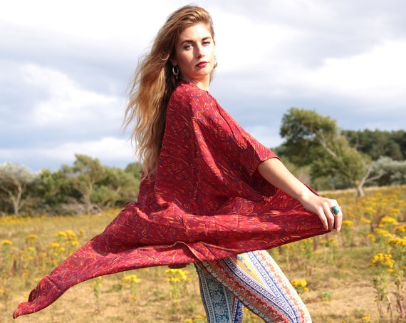 RED FLAME KIMONO - Silk - Cover Up - Bohemian - Beach  Kaftan - Asymmetric - Bespoke - 100% silk - Eco Fashion - Up cycle - Freesize