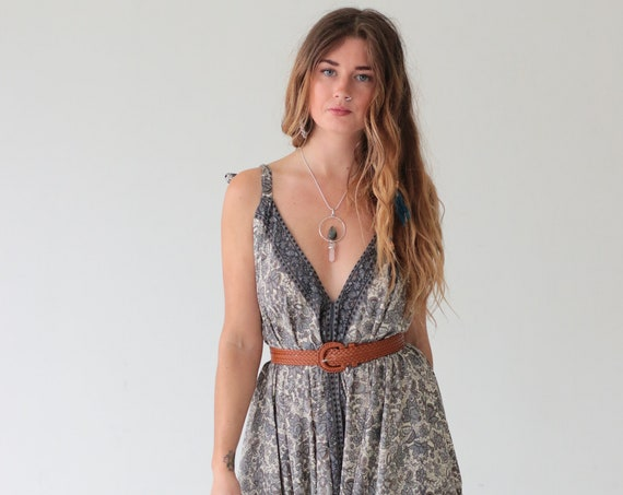 SUMMER WEDDING JUMPSUIT - Playsuit - Vintage Silk - Spring - Festival - Halter neck - Bohemian - Dress - Wide leg - 70's - Flares - Gypsy