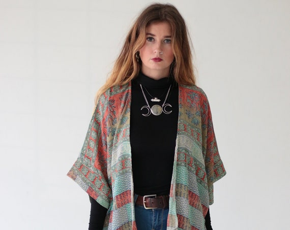 HIPPIE PATCHWORK KIMONO - Cover Up - Boho - Asymmetric - Vintage silk - Indian Kaftan - 70's - Retro Clothing - Stevie Nicks - Summer - Gift