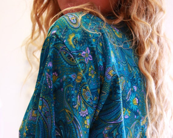 RUBY SPARROW CROP - Boho Bell sleeve - Vintage Fabric - Retro - Bohemian - Kimono - Up cycled Summer Kaftan - Silk Blend Wrap Top - Tie Top